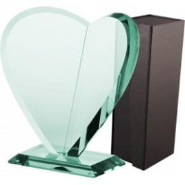 Trofeum szklane z etui - serce G021