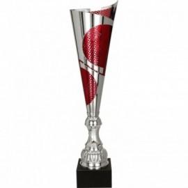 Puchar metalowy srebrno-czerwony 3124