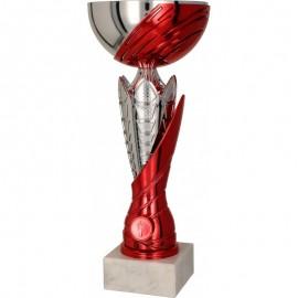 Puchar metalowy srebrno-czerwony 4169